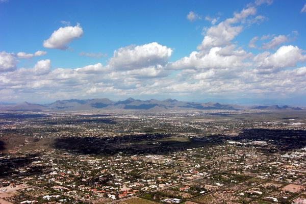 Panorama of Scottsdale, McDowell Mountain Preserve and Sonoran Desert