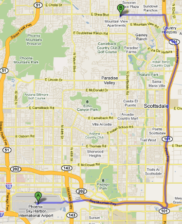 Map from Phoenix Sky Harbor International Airport to Wellness Restoration